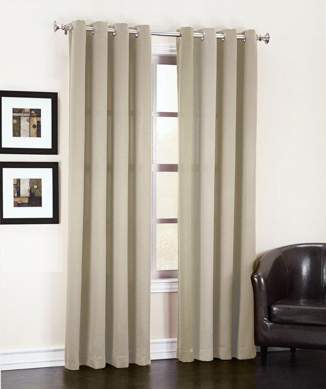 Great Groton Solid Semi Sheer Grommet Single Curtain Panel