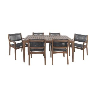 North La Junta 7 Piece Solid Wood Dining Set Bungalow Rose