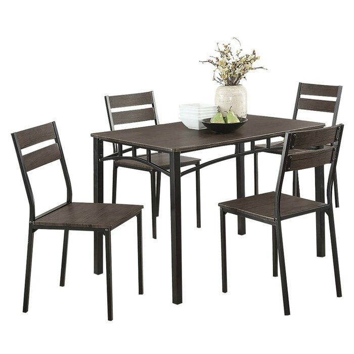Brodhead Wooden 5 Piece Counter Height Dining Table Set