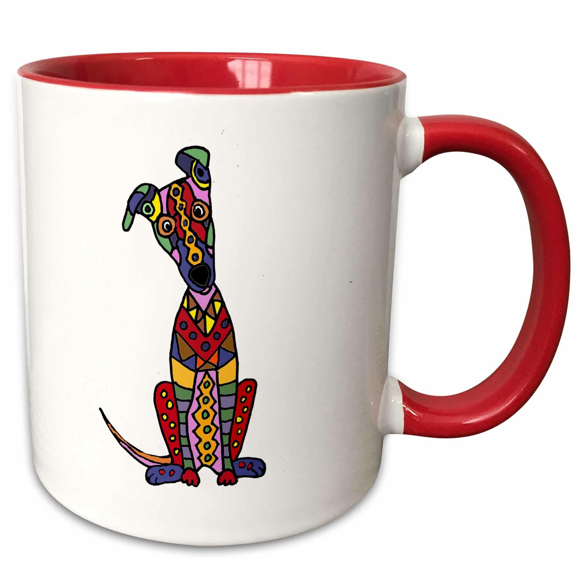 Symple Stuff Folse Funny Cute Artistic Greyhound Dog Abstract Art Coffee Mug Wayfair