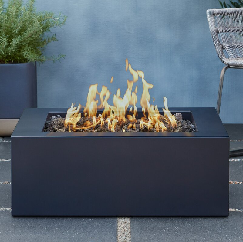 Bryon Square Steel Propane Fire Pit Table