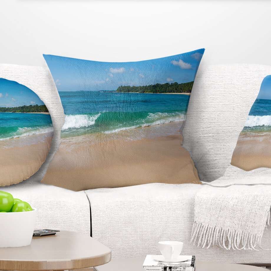 East Urban Home Seashore Wave On Sandy Paradise Beach Pillow Wayfair