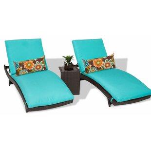TK Classics Bali 3 Piece Chaise Lounge Set with Cushion