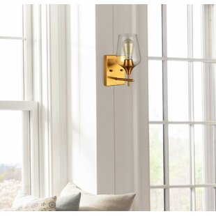 Top Rated Cheap Wall Sconce Everly Quinn Theriot 1 Light Dimmable Hardwired Gold Armed Sconce