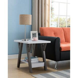 Holder Two-Tone Wooden End Table
