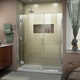 DreamLine Unidoor-X 53 1/2-54 in. W x 72 in. H Frameless Hinged Shower Door