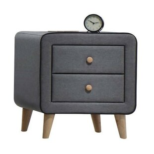 Moraine Wood and Fabric Upholstery 2 Drawer Nightstand by Ivy Bronx