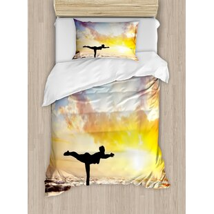 East Urban Home Yoga Warrior Pose by Woman in Silhouette with Majestic Sunset Sky Virabhadrasana Practice Duvet Set