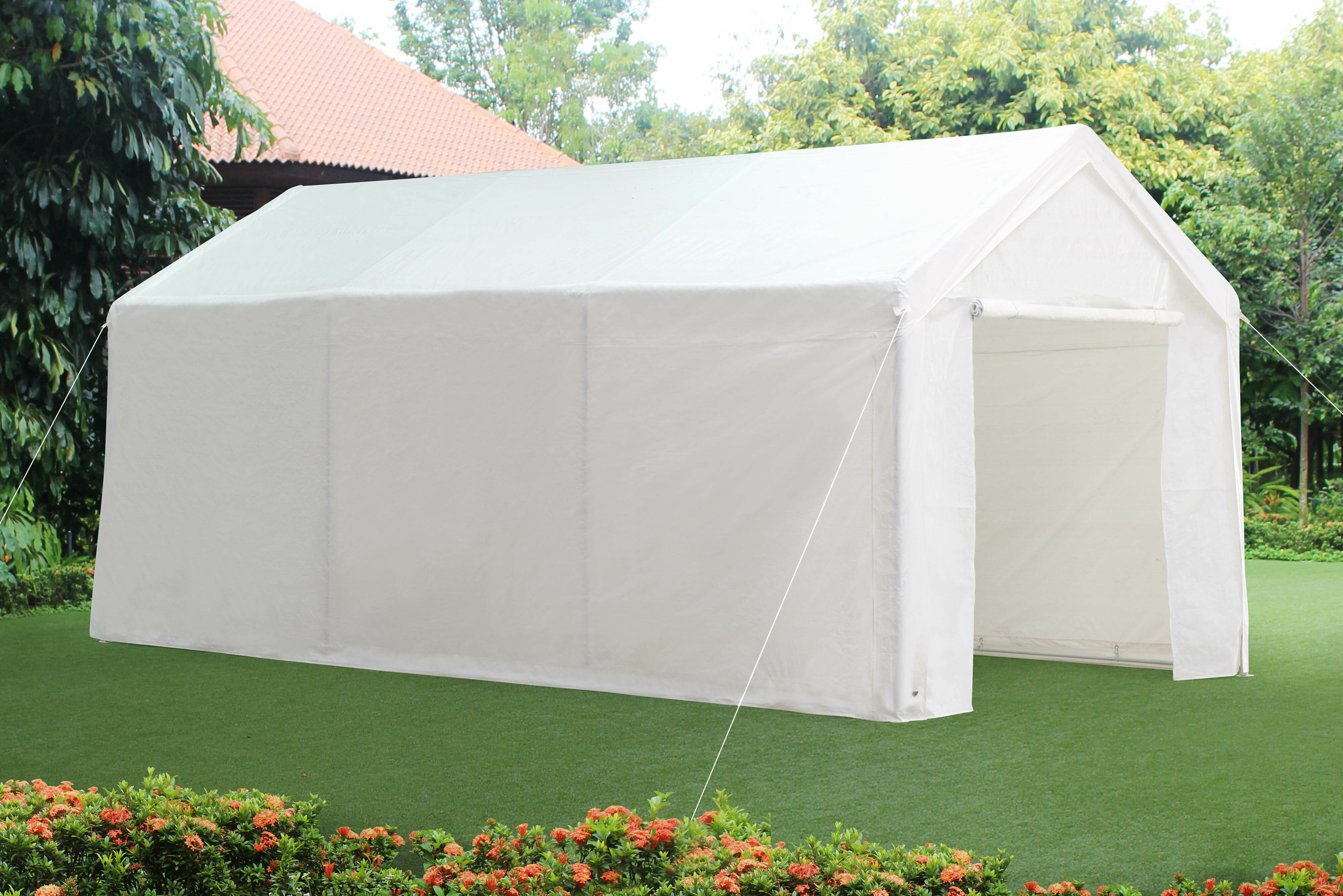 & Sunjoy 10 Ft. W x 20 Ft. D Steel Carport Party Tent Canopy | Wayfair