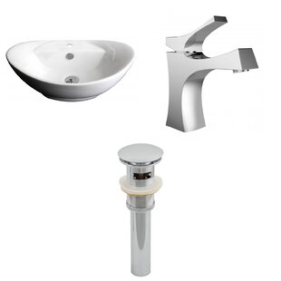 Affordable Ceramic Oval Vessel Bathroom Sink with Faucet and Overflow By American Imaginations