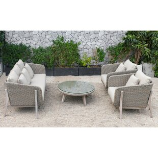 Corrigan Studio Hamza Outdoor 4 Piece Rattan Sofa Seating Group