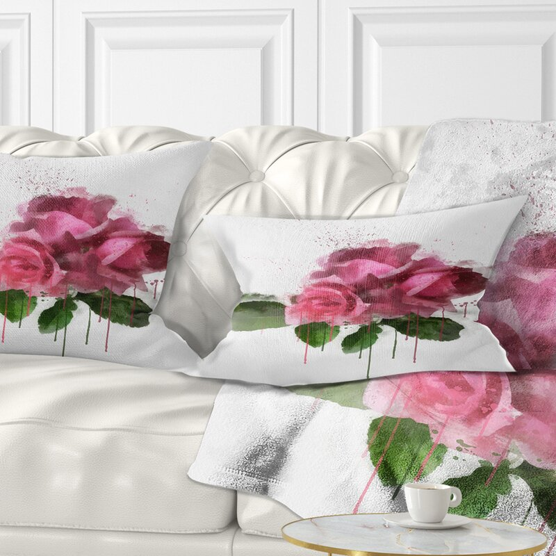 East Urban Home Floral Bunch Of Roses With Leaves Lumbar Pillow Wayfair