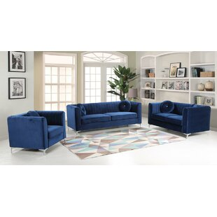 Mercer41 Elmore 3 Piece Living Room Set