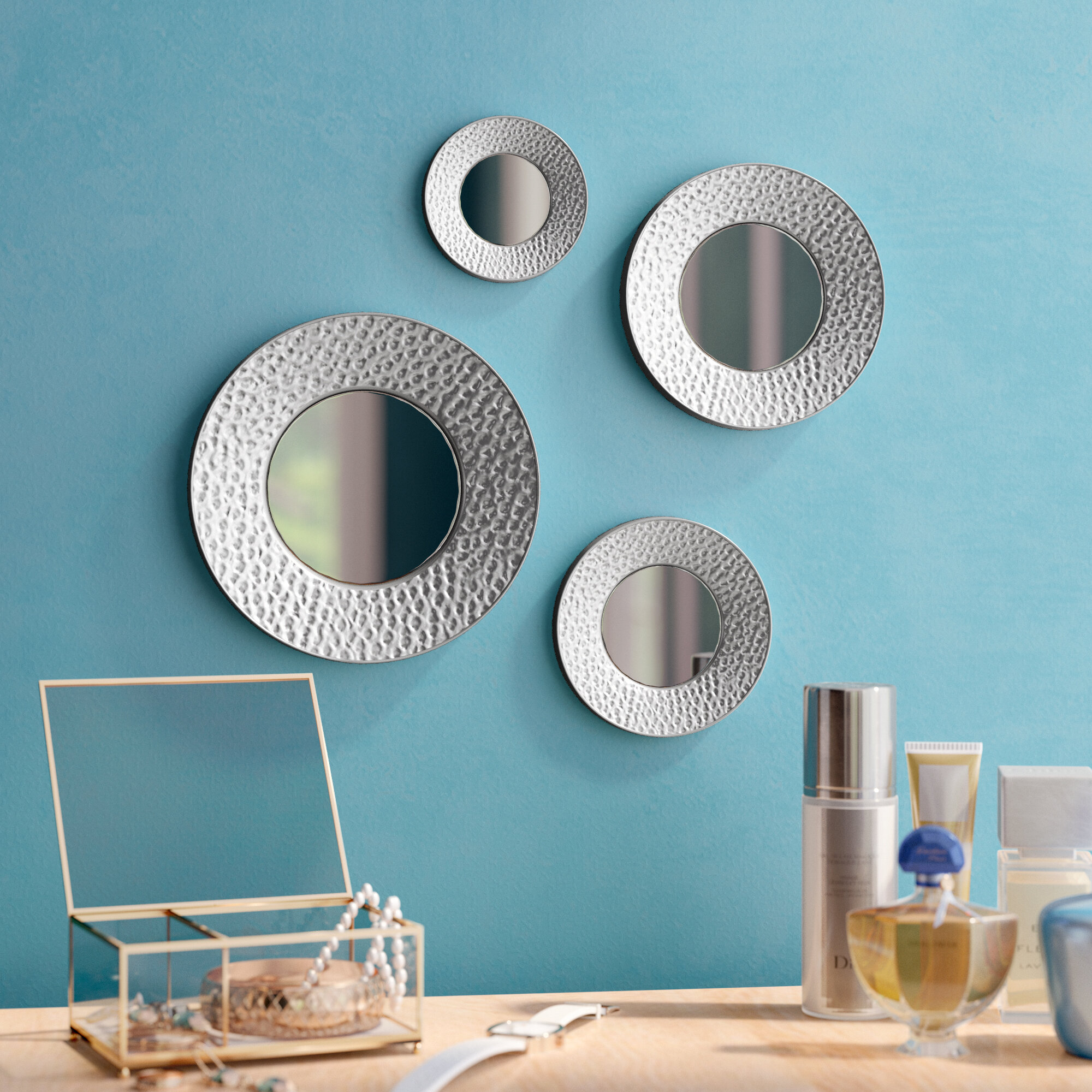 Langley Street 4 Piece Deon Modern Contemporary Beveled Wall Mirror Set Reviews Wayfair