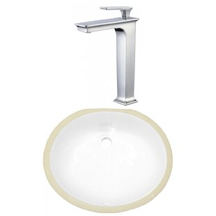 Comparison CSA Ceramic Oval Undermount Bathroom Sink with Faucet and Overflow By American Imaginations