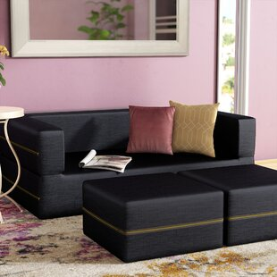 Eugene Denim Sleeper Loveseat and Ottomans