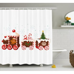 Top Reviews Christmas Candy Train Shower Curtain ByThe Holiday Aisle