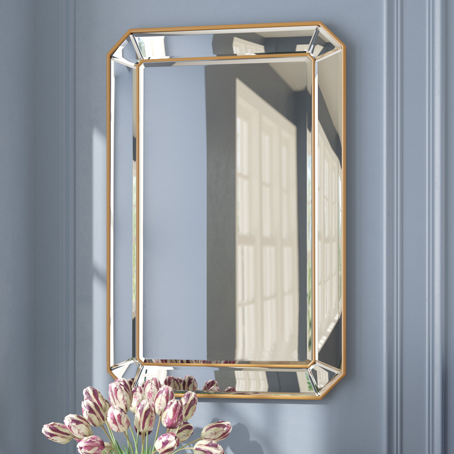 Willa Arlo Interiors Briley Rectangle Gold Angled Accent Wall Mirror