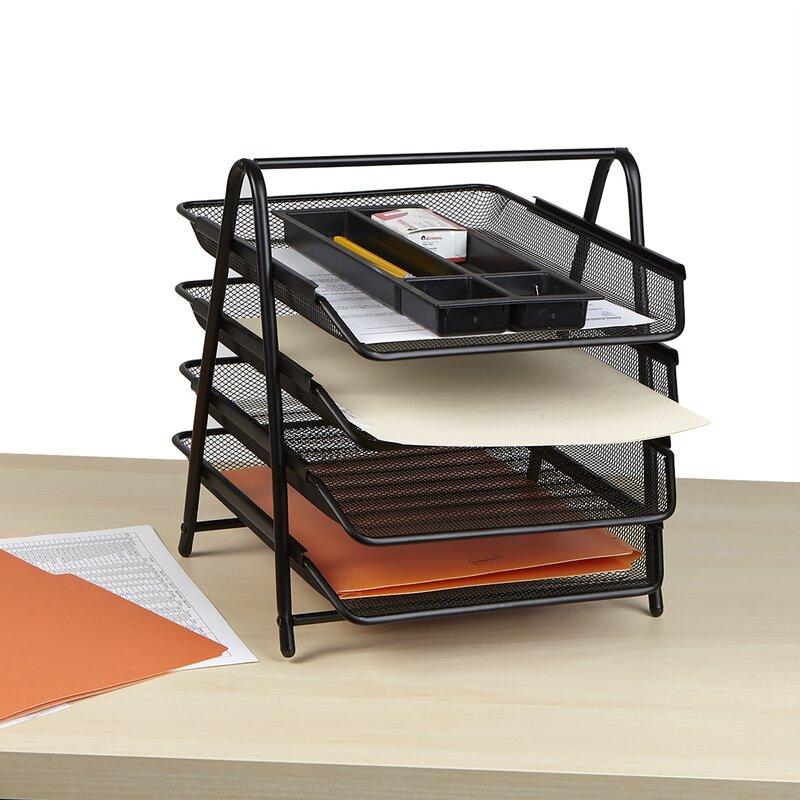 21d7dfb4b Mind Reader 4 Tier Steel Mesh Paper Tray Desk Organizer & Reviews ...