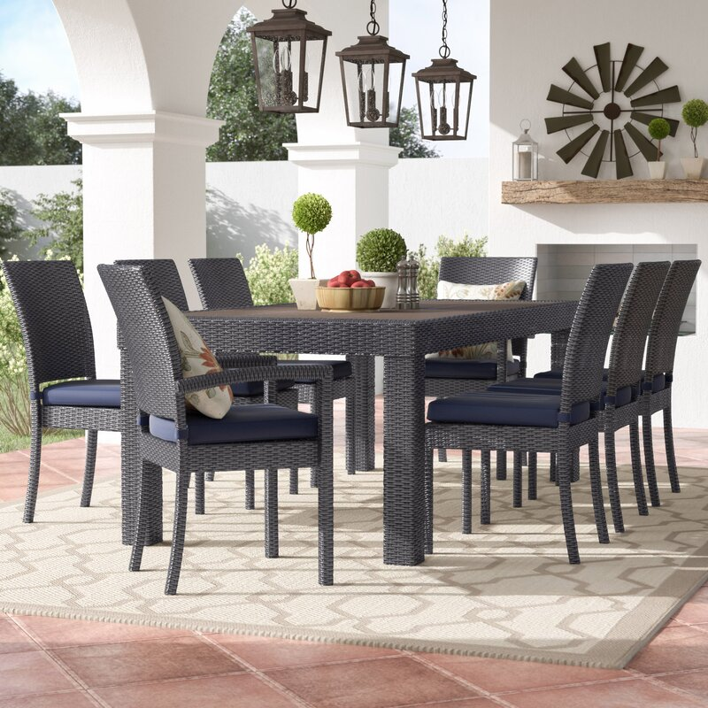 Attrayant Evansville 9 Piece Outdoor Dining Set With Cushion