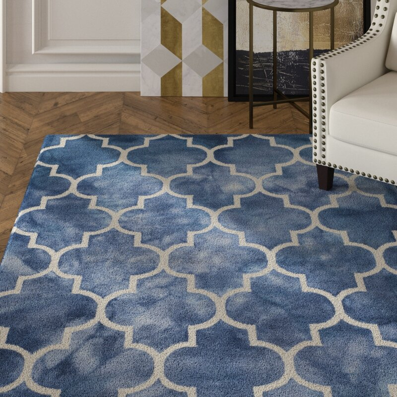 House Of Hampton Berman Geometric Handmade Tufted Wool Navy Ivory Area Rug Reviews Wayfair