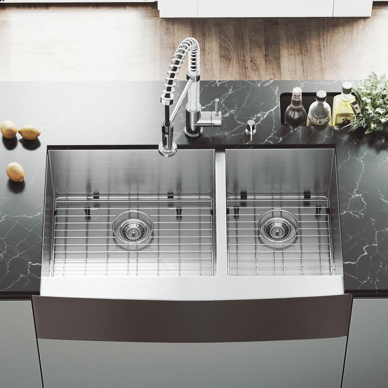 Surprising Chisholm 36 L X 22 W Double Basin Farmhouse Kitchen Sink With Sink Grid Download Free Architecture Designs Scobabritishbridgeorg