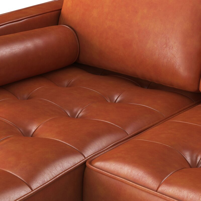 Ainslee Leather Reversible Modular Sectional With Ottoman