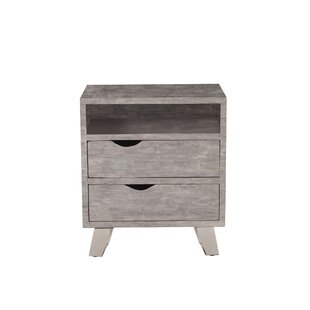 Alford Acacia Wood 2 Drawer Nightstand by Union Rustic