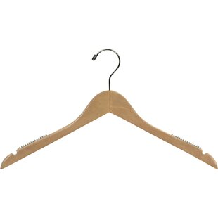 Best Heavy-duty Wooden Top Non-Slip Hanger with Rubber Shoulder Grips (Set of 100) By Rebrilliant