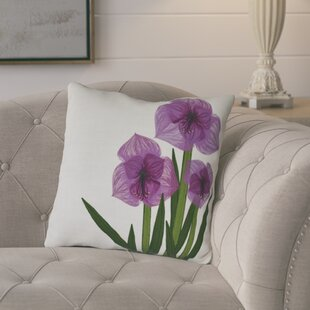 Amanda Amaryllis Floral Print Outdoor Throw Pillow