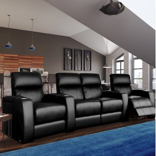 Home Theater Curved Row Seating with Chaise Footrest (Row of 4) Latitude Run