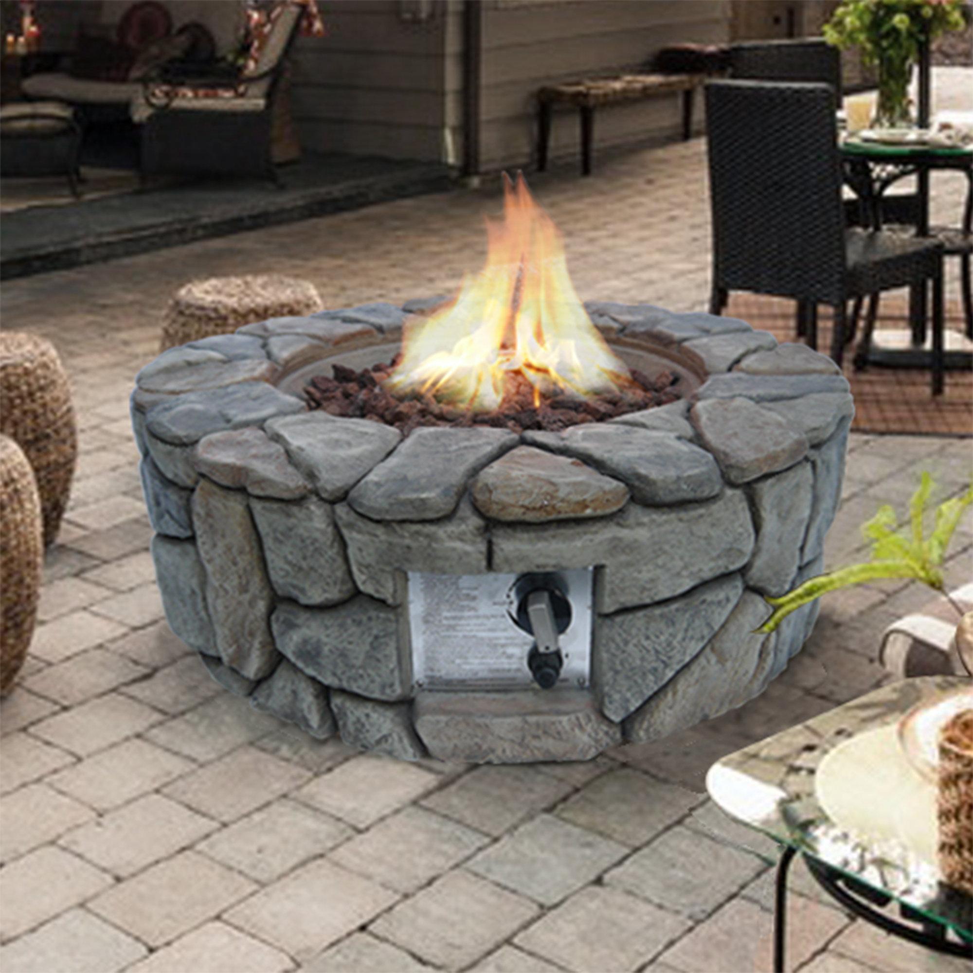 Peaktop stone gas fire pit wayfair