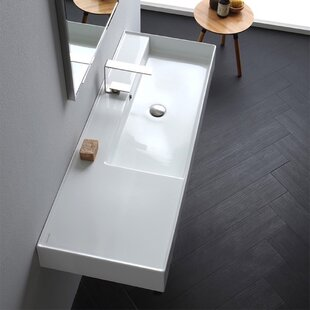 Check Prices Ceramic 48'' Wall Mounted Bathroom Sink with Overflow ByScarabeo by Nameeks