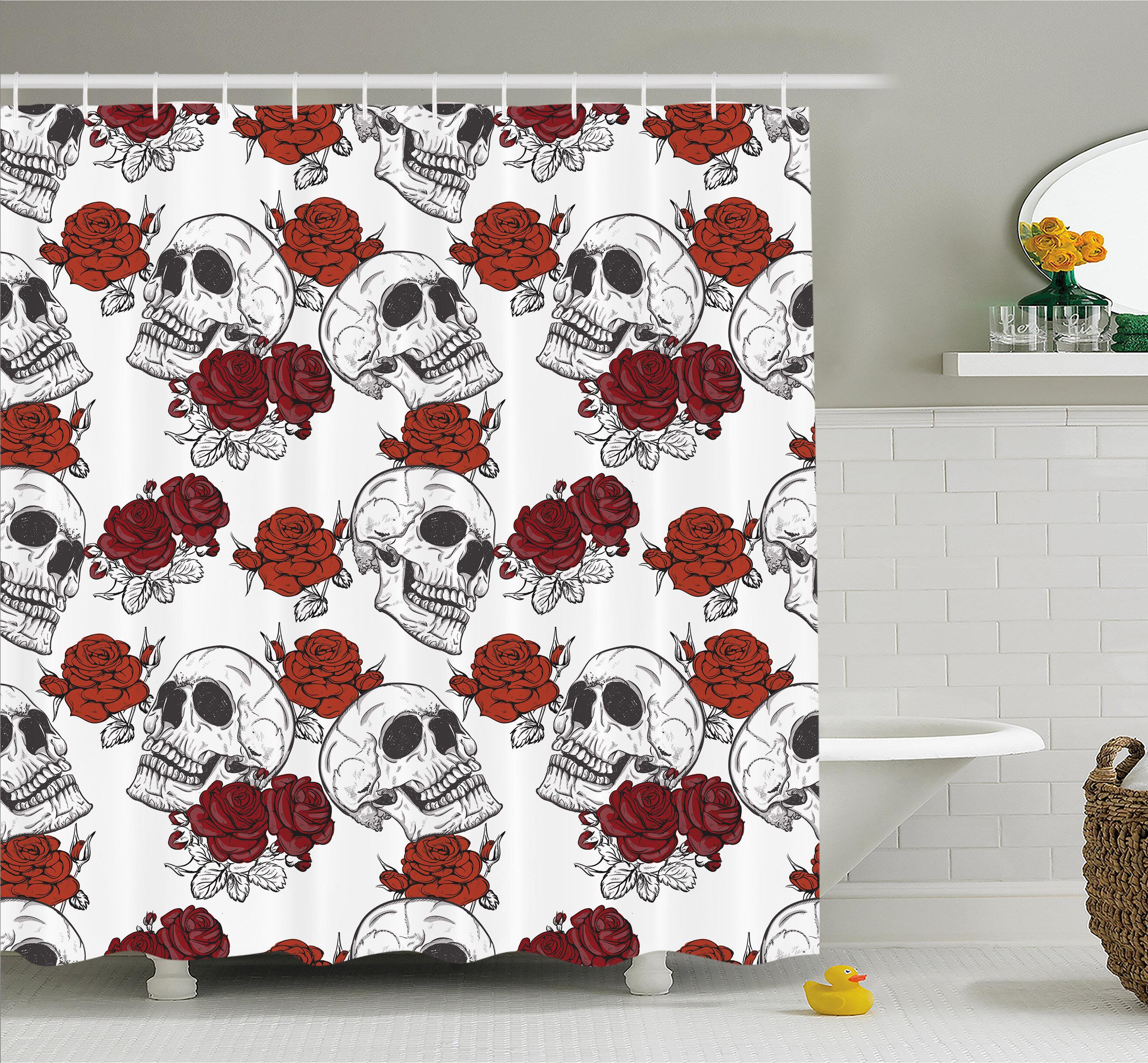 Halloween Horror Skeleton Skull Shower Curtain Set Bathroom Fabric Bath Curtains