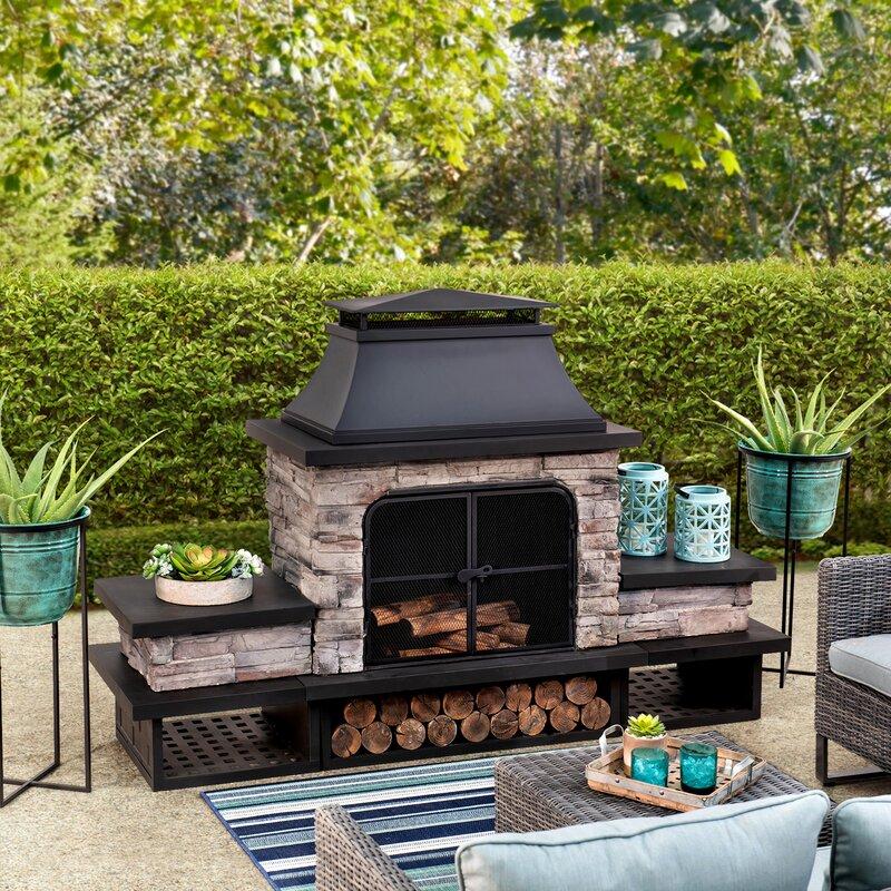 Canora Grey Quillen Steel Wood Burning Outdoor Fireplace ... on Quillen Steel Wood Burning Outdoor Fireplace id=27557