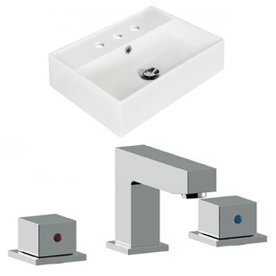 Best Price Ceramic Rectangular Vessel Bathroom Sink with Faucet and Overflow By Royal Purple Bath Kitchen