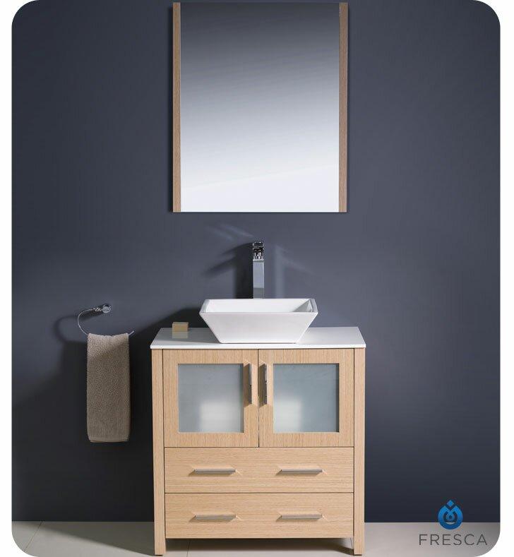 "Modern Bathroom Vanities Sinks fresca torino 30"" single modern bathroom vanity set with mirror"
