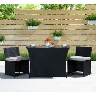 Rithland 3 Piece Dining Set with Cushions by Wrought Studio