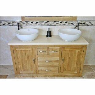 Demaria Solid Oak 1430mm Free-Standing Vanity Unit By Belfry Bathroom