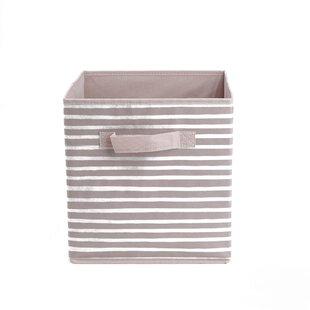 Mind Reader Storage Bin Stripes Design Foldable Basket With Handles Decorative Bins Cube Organizer Bathroom Bedroom