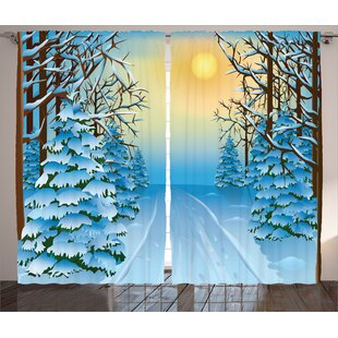 Conger Winter Decorations Forest View Paint Print with Snowy Path between Trees and Sun on Sky Graphic Print & Text Semi-Sheer Rod Pocket Curtain Panels (Set of 2) by Latitude Run