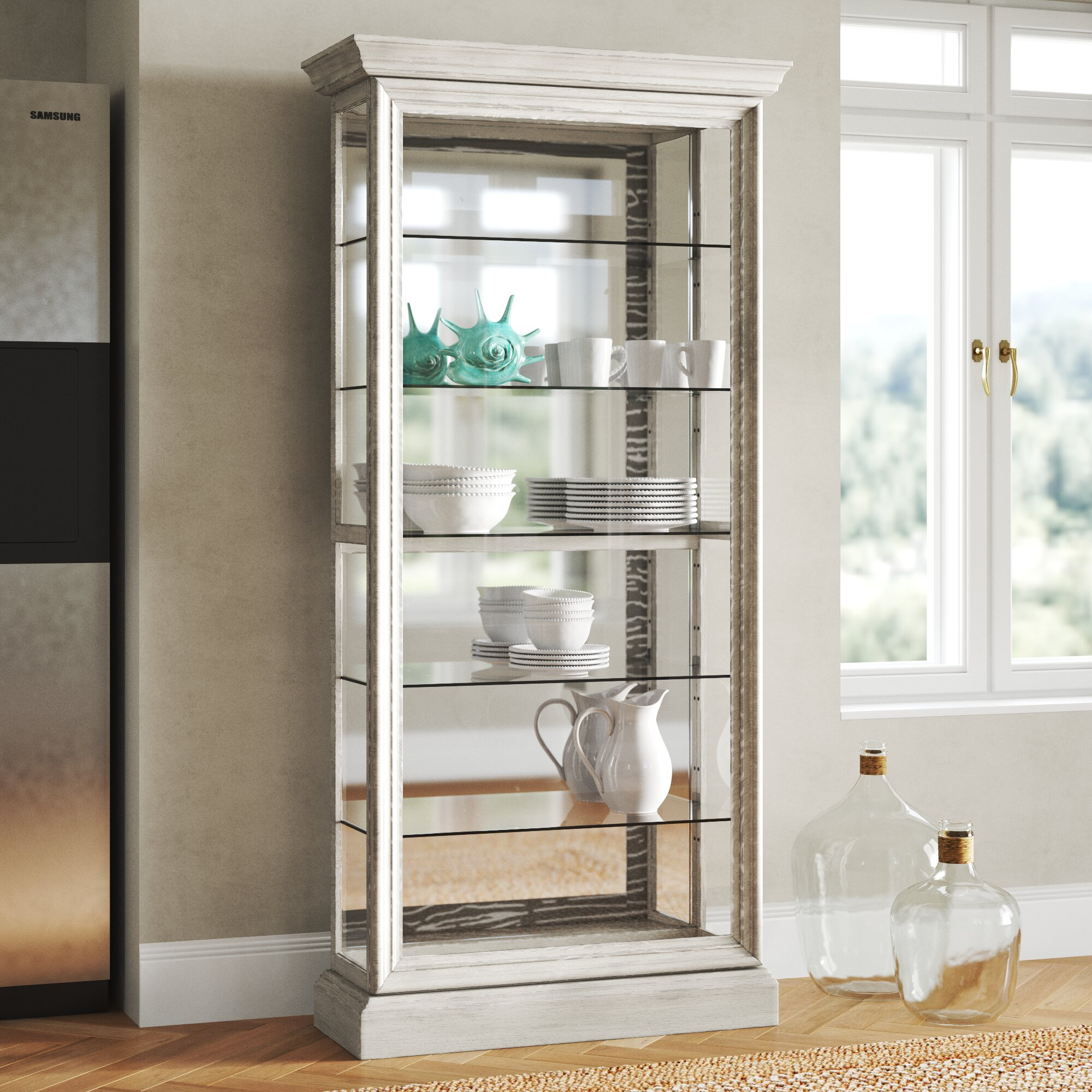 Rosecliff Heights Codman 5 Shelf Sliding Door Lighted Curio Cabinet