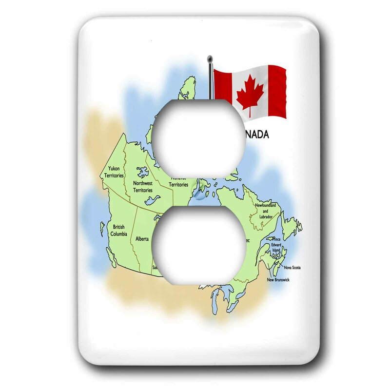 3drose Map And Flag Of The 1 Gang Duplex Outlet Wall Plate Wayfair