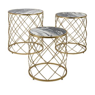 Zara Faux Marble 3 Piece Nesting Tables by Everly Quinn