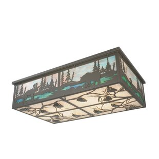 Meyda Tiffany Wildlife at Pine Lake 8-Light Flush Mount