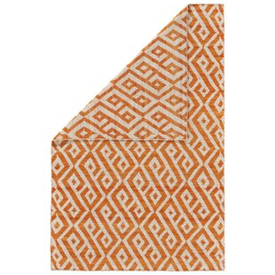 Check Prices Reiber Hand-Woven Wool Orange/Natural Area Rug By Bloomsbury Market