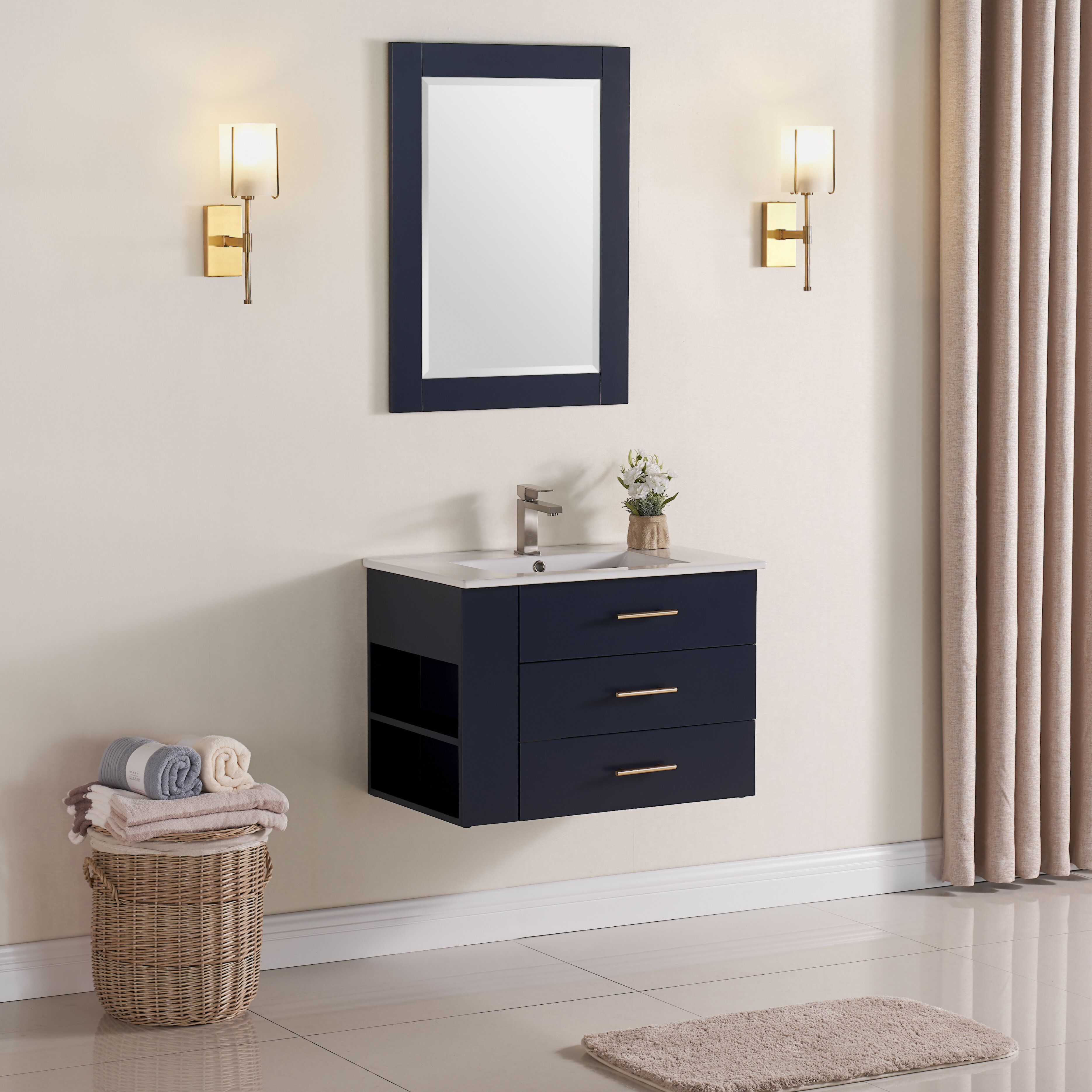 "Exquisite Home 12"" Wall-Mounted Single Bathroom Vanity Set with Mirror"
