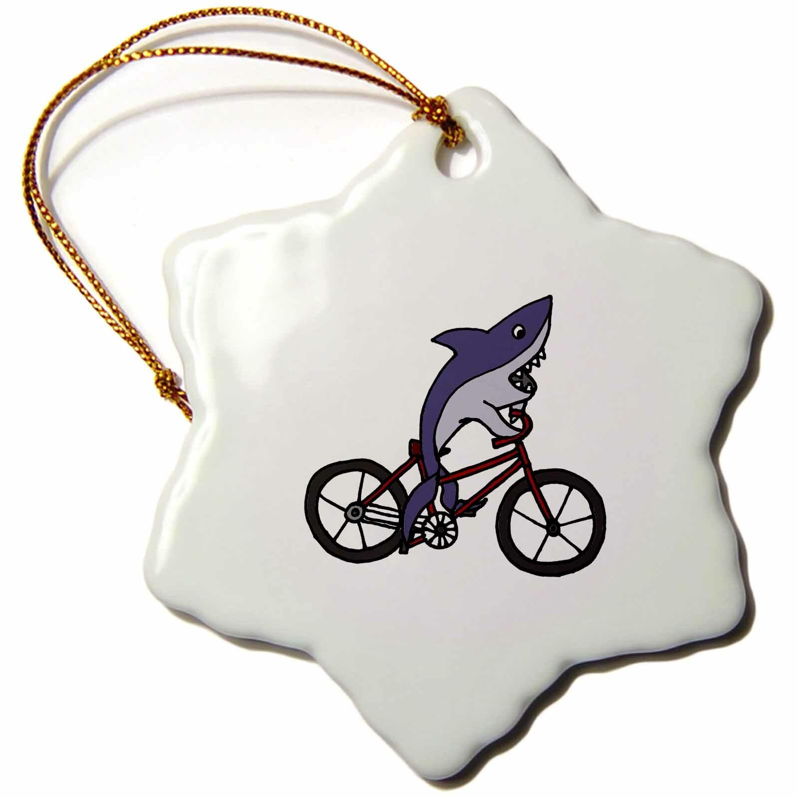 The Holiday Aisle Funny Shark Riding Bicycle Snowflake Holiday Shaped Ornament Wayfair