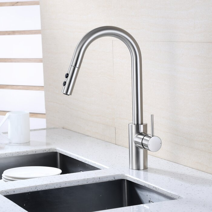 Contemporary Pull Down Single Handle Kitchen Faucet With Side Spray