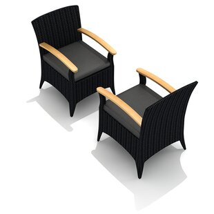 Holbrook Teak Patio Dining Chair with Cushion (Set of 2)